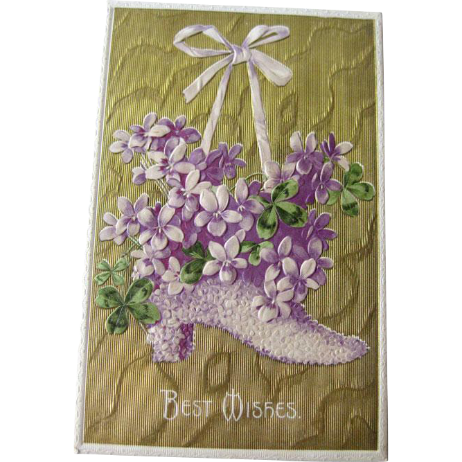Best Wishes Violets and Gilded Postcard Made in Germany - Embossed Postcard - Vintage Post Card - Vintage Ephemera
