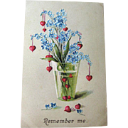 Forget Me Not Embossed Postcard Made in Germany - Embossed Postcard - Vintage Post Card - Vintage Ephemera
