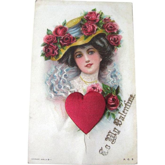Satin Heart Victorian Woman Valentine Postcard - Vintage Valentine - Vintage Ephemera