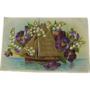 German Gel Postcard With Happy Returns Salutation - Embossed Post Card Ship and Flowers - Vintage Ephemera