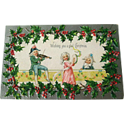 Christmas Embossed and Silver Postcard With Dancing Couple   - Vintage Ephemera - Christmas Post Card - German Postcard