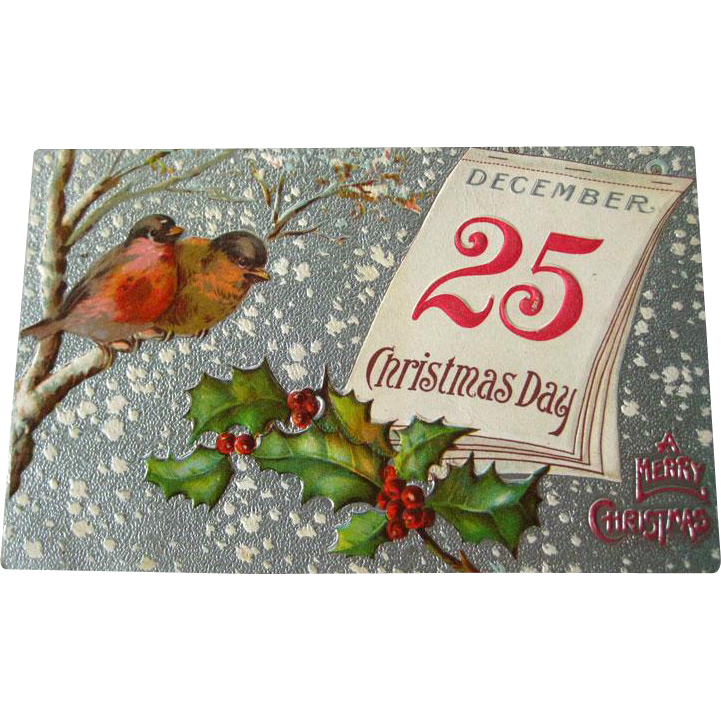 Christmas Embossed and Silver Postcard With Birds and Holly   - Vintage Ephemera - Christmas Post Card - 1910 Postcard