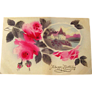 German Happy Birthday Postcard With Air Brushed Scene and Roses - Vintage Ephemera - Birthday Postcard