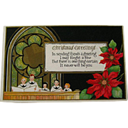Christmas Embossed Postcard With Pointsettia and Chior  - Vintage Ephemera - Christmas Post Card