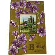 Violets Embossed Happy Birthday Postcard With Landscape Scene - Vintage Ephemera - Birthday Post Card - 1900s Postcard