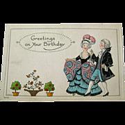Bergman Birthday Postcard With Colonial Dressed Characters - Lehmann Illustration - Birthday Post Card - Embossed Postcard - Colonial Dress