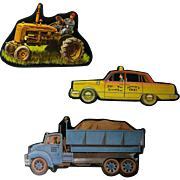 Tractor Dump Truck and Taxi Cardboard Cut Outs - Magnetic Art - Teaching Tools - Holt Rinehart Winston - Educational Materials, Classroom