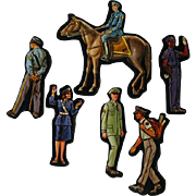 Uniformed Professionals Cardboard Cut Outs - Magnetic Art - Teaching Tools - Holt Rinehart Winston - Educational Materials - Classroom