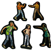 School Boys Cardboard Cut Outs - Magnetic Art - Teaching Tools - Holt Rinehart Winston - Educational Materials - Classroom