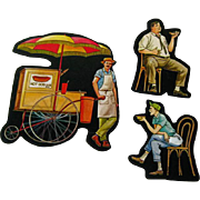 Hot Dog Cart Vendor Customers Cardboard Cut Outs - Magnetic Art - Teaching Tools - Holt Rinehart Winston - Educational Materials - Classroom