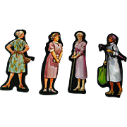 Grandmothers Set Of Six Cardboard Cut Outs - Magnetic Art - Teaching Tools - Holt Rinehart Winston - Educational Materials - Classroom
