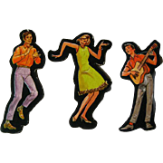 60s Groovy Dancing Party Cardboard Cut Out Set - Magnetic Art - Teaching Tools - Holt Rinehart Winston - Educational Materials - Classroom