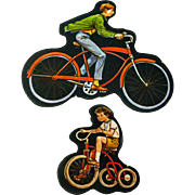Boys On Bikes Cardboard Cut Out Set - Magnetic Art - Teaching Tools - Holt Rinehart Winston - Educational Materials - Classroom - Bicycle