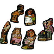 Nursery Rhyme Cardboard Cut Out Set of Six - House Of Rock Artwork - Magnetic Art - Holt Rinehart Winston - Baby Room Decor - Nursery Decor