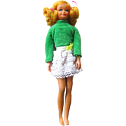 Living Skipper Doll Model 117 - 1970s Vintage Barbie Skipper Doll in Lots Of Lace Green Velvet and Lace Outfit - Mattel Skipper Doll