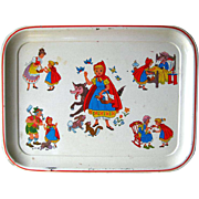 Vintage Metal Red Riding Hood Tray / Childrens Tea Set Tray / Storybook / Litho Toy Tray