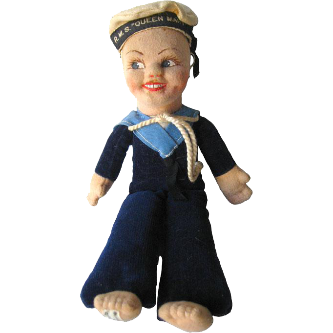 Jollyboy Sailor Doll by Norah Wellings From The RMS Queen Mary 1940s / Vintage Cloth Doll / Navy Doll / Great Britain Doll