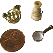 Miniature Dollhouse Lot Magnifying Glass French Horn Telescope / Doll Accessories