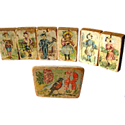 Lithograph Victorian Children Picture Block Set of Seven / Antique Wooden Blocks