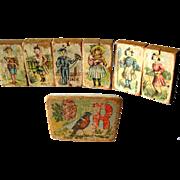 Lithograph Victorian Children Picture Block Set of Seven / Antique Wooden Blocks