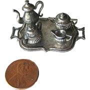 Miniature WPAW England Tea Set on Tray / Dollhouse Pewter / Wales Association Of Pewter Works / Dollhouse Miniature
