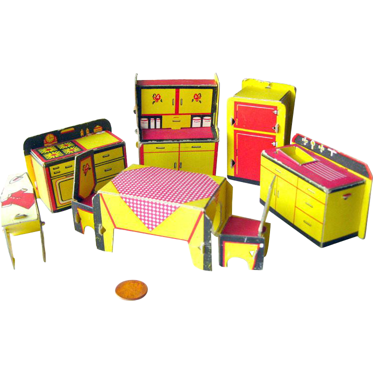Built Rite Miniature Dollhouse Kitchen Furniture Set No 49 / Dollhouse Kitchen / Miniature Kitchen