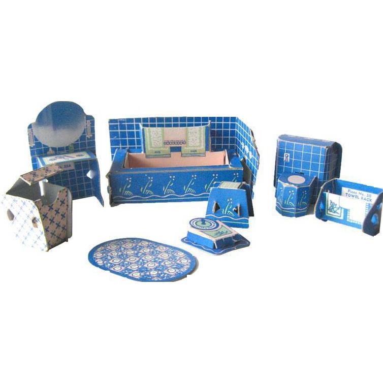 Miniature Dollhouse Bathroom Set by Built Rite / Dollhouse Kitchen / Miniature Kitchen