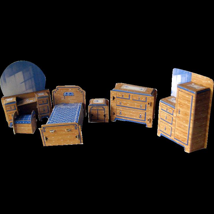 Dollhouse Miniature Bedroom Set by Built Rite / Dollhouse Bedroom / Miniature Bedroom
