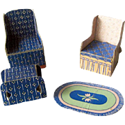 Miniature Chair Set for Vintage Dollhouse by Built Rite / Dollhouse Livingroom / Miniature Livingroom