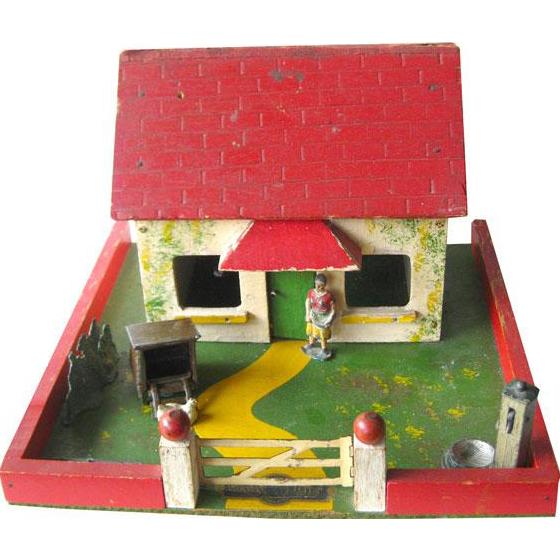 Toy Farm Yard By Amersham Toys England / Vintage Dollhouse / Amersham Farmyard / Dollhouse Miniature