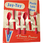 Vintage Play Silverware - Joy Toy Play Silverware - Plastic Tableware - Toy Utensils - Tea Party Table Ware - Childrens Pretend Play