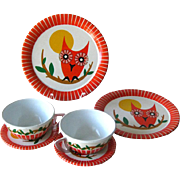 Ohio Art Childrens Vintage Tin Tea Set With Owl Design - Vintage Toy - Toy Dish - Tea Play Set