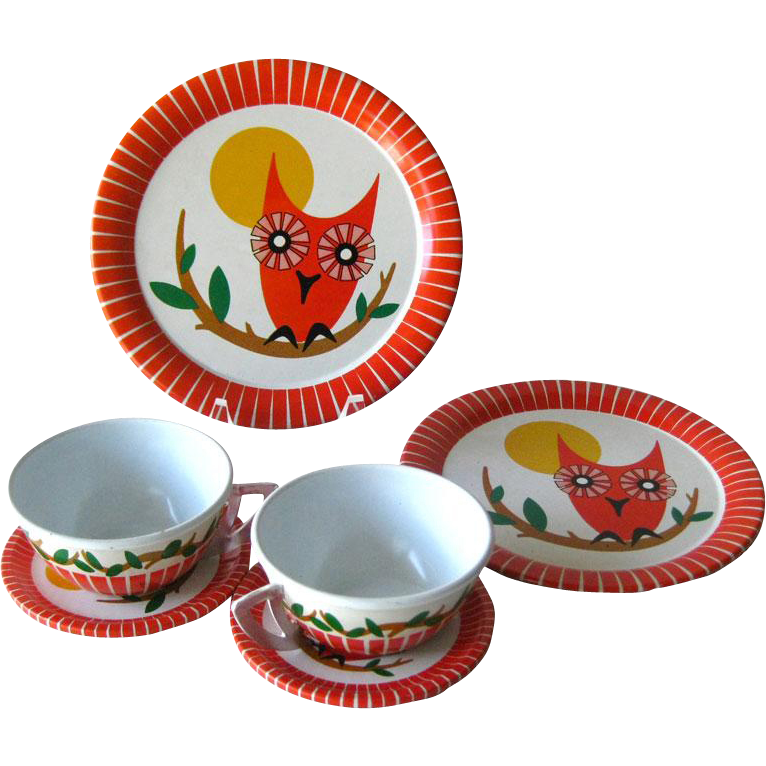 Ohio Art Childrens Vintage Tin Tea Set With Owl Design - Vintage Toy - Toy Dish - Tea Play Set