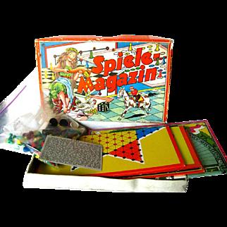 Spiele Magazin Austrian Game Set - JSJ Autstria - Boxed Game Set - Vintage Horse Race Game - Multi Game Set - Lithograph Game Board