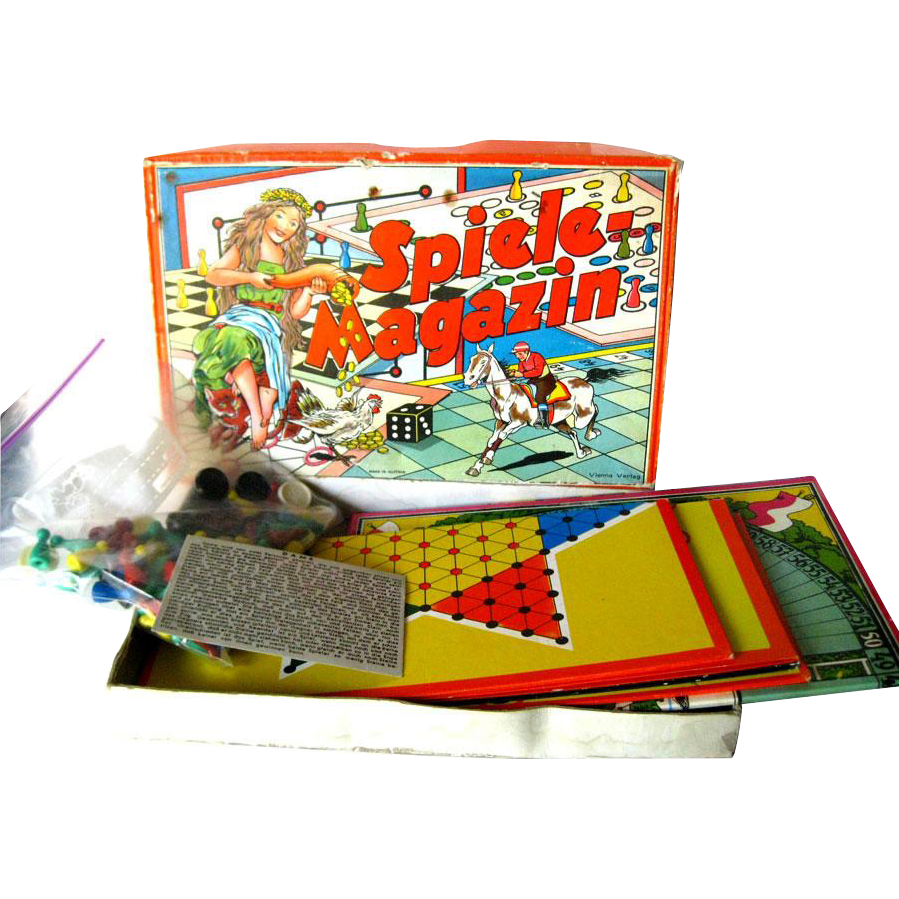 Spiele Magazin Austrian Game Set - JSJ Autstria - Boxed Game Set - Vintage Horse Race Game - Multi Game Set - Lithograph Game Board