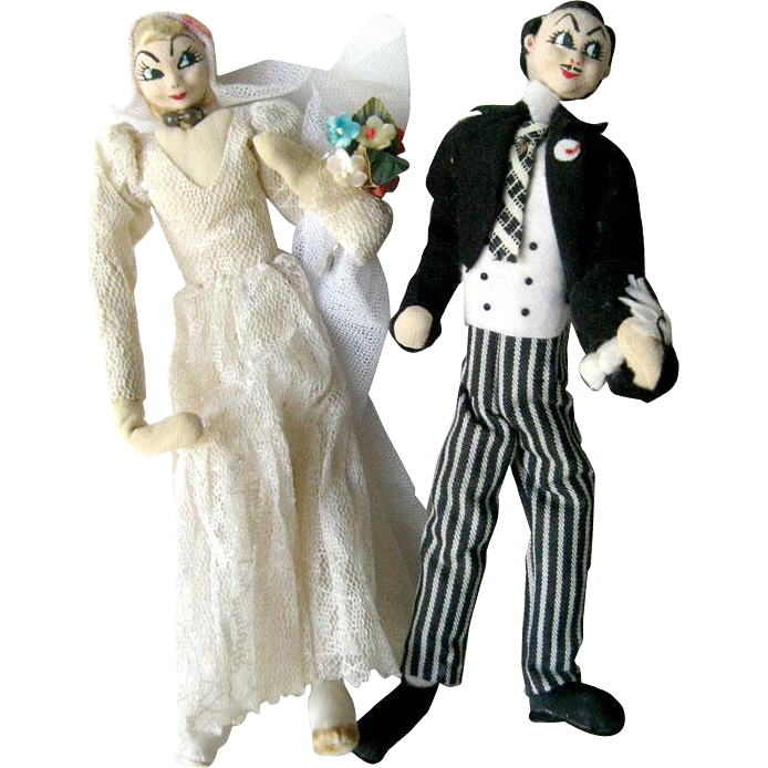Caricature Bride And Groom Dolls - Vintage Wedding Dolls - Bride Doll - Groom Doll - Character Dolls - Roland Doll or Klumpe Doll