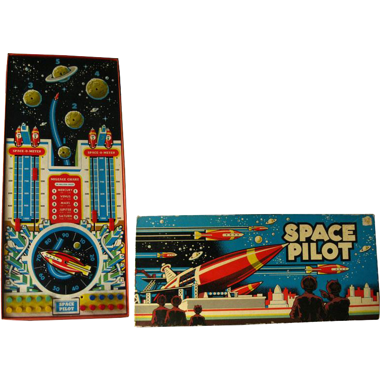 Space Pilot Game by Cadaco - Vintage Board Game - Space Game - 1950s Board Game - Astronaut Game - Graphic Space Illustration