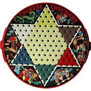 Vintage Chinese Checkers Tin Game 2 Side with Drawers Original Complete - Pixie Chinese Checkers - Lithograph Game Board