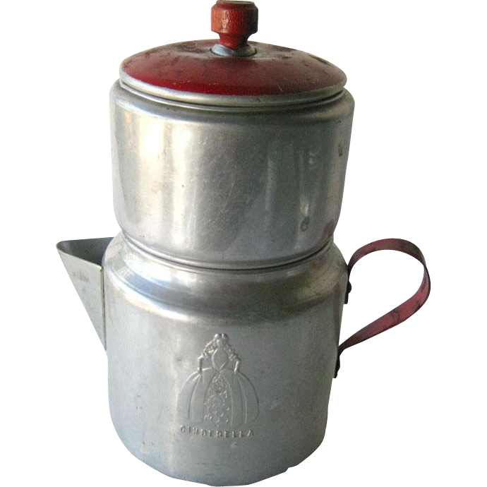 Cinderella Red Handle Double Coffee Pot with Wooden Nob - Tin Coffee Pot Pot - Childs Pot - Doll Kitchen - Cinderella Pot