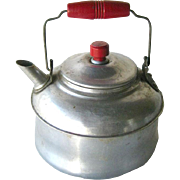 Red Handle Tea Pot with Wooden Knob Lid - Tin Tea Pot Pot - Childs Tea Pot - Doll Kitchen - Vintage Toy Tea Kettle