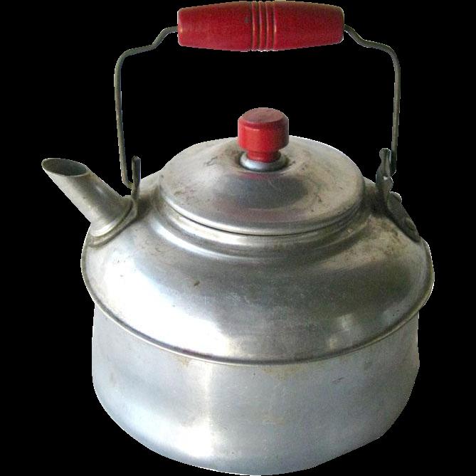 Red Handle Tea Pot with Wooden Knob Lid - Tin Tea Pot Pot - Childs Tea Pot - Doll Kitchen - Vintage Toy Tea Kettle