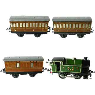 MECCANO Clockwork Steam Engine Train - Hornby Tank Passenger Train Set No 101 LNER - Tinplate Wind Up Train O Guage - Vintage Mechanical Toy