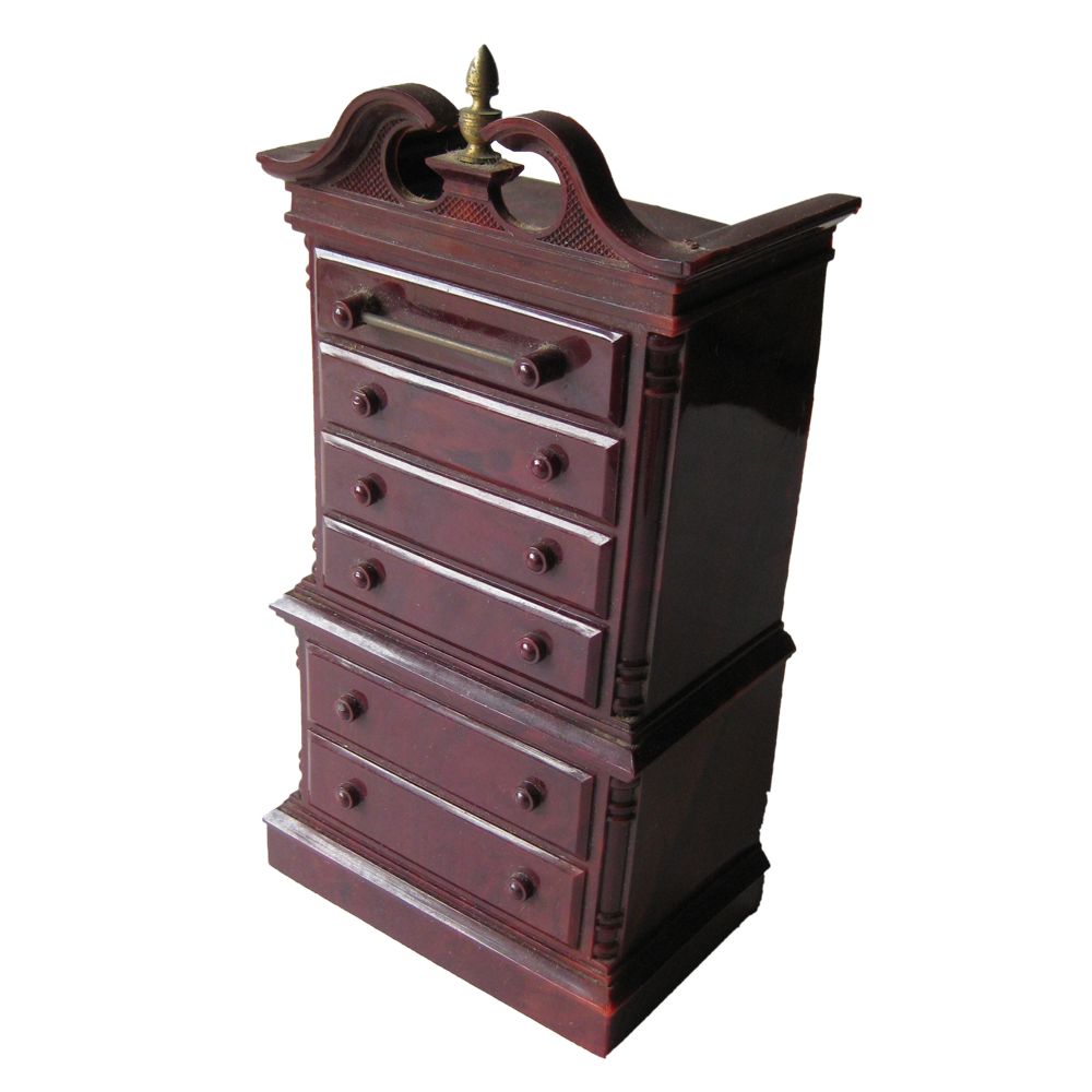 Vintage Chippendale Style Highboy Dresser Plastic Bank With Magical Drawer / Park Sherman / 1950s Toy Mechanical Bank