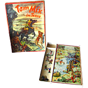 Tom Mix In Texas Board Game By Klee with Metal Cowboys and Indians Playing Pieces - Vintage Board Game - Vintage Western Board Game