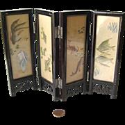 Miniature Folding Screen - Chinese Silk Screen - Dollhouse Folding Screen - Miniature Lacquer Silk Screen - Doll House Furniture