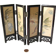 Miniature Folding Screen - Chinese Silk Screen - Dollhouse Folding Screen - Miniature Lacquer Silk Screen - Doll House Furniture