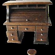 Dollhouse Wooden Roll Top Desk - Miniature Desk - Doll Rolltop Desk - Doll House Furniture