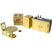 Dollhouse Wooden Kitchen Set - Miniature Stove Sink Dishwasher Table and Chair - Miniature Kitchen Furniture - Doll House Furniture