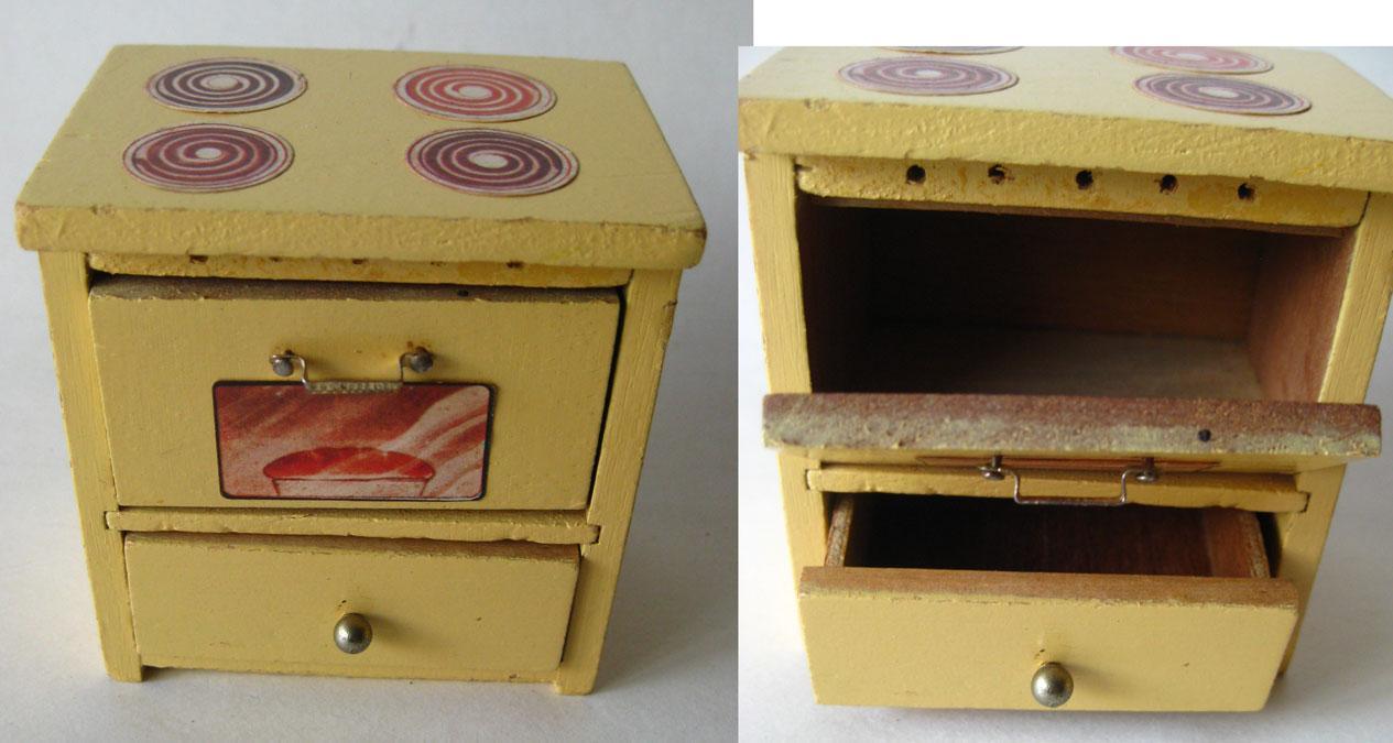 Miniature Dishwasher Dollhouse Wooden Kitchen Set Miniature Stove Sink Dishwasher
