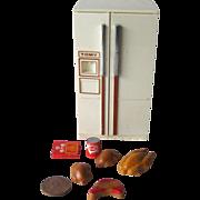 Tomy Dollhouse Refrigerator with Food - Doll House Kitchen Fridge - Miniature Kitchen Refrigerator - Doll House Furniture